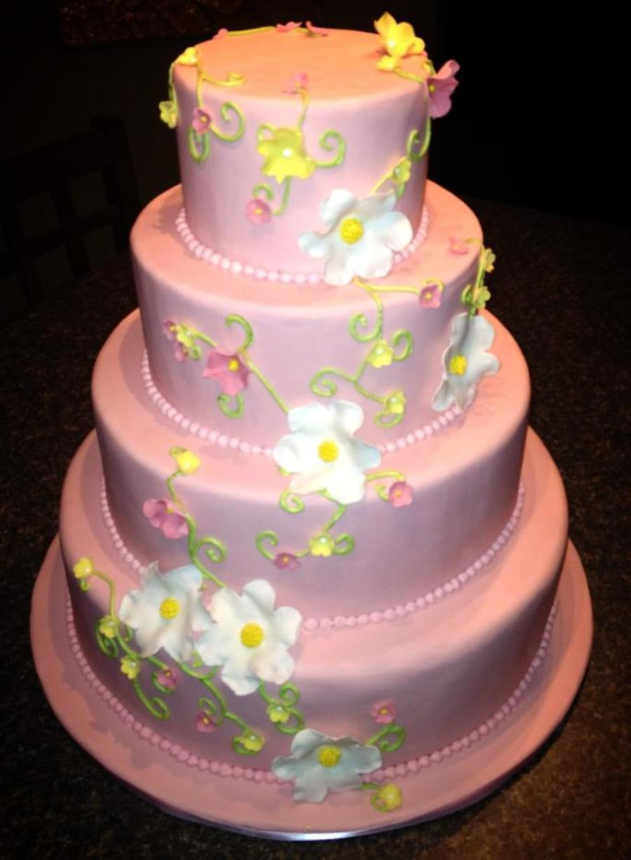 Pink Fondant Wedding Cake With Gumpaste Flowers Cakecentral