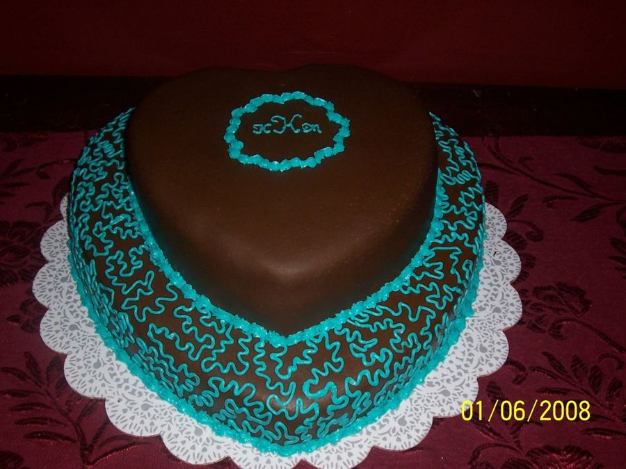 Teal & Brown Heart Cake on Cake Central