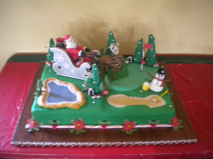 Christmas Santa On Sleigh At Golf Course on Cake Central