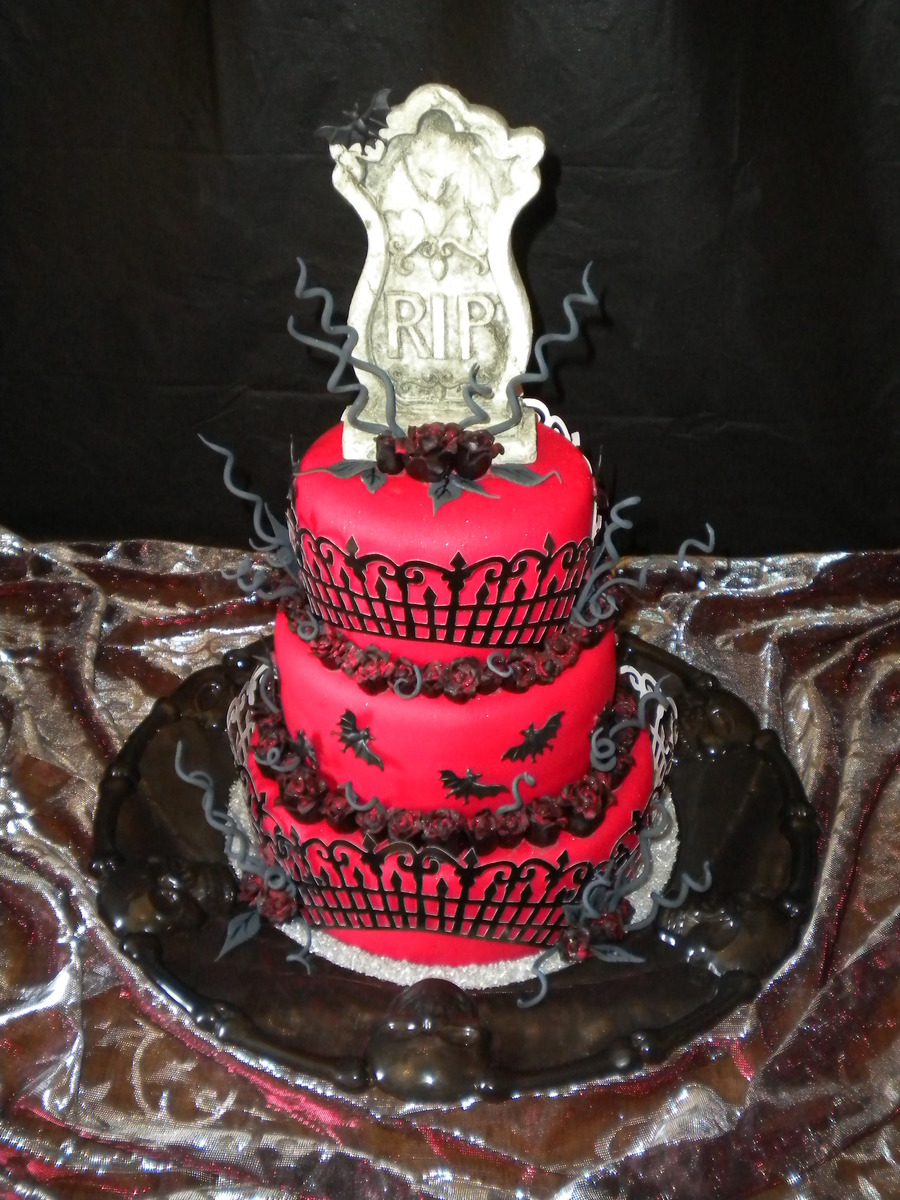 Gothic Vampire Bats Black Roses And Gravestone on Cake Central