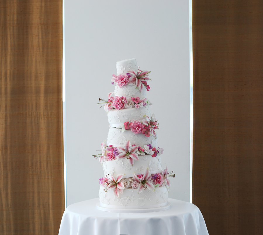 Wonky five tier wedding cake with pink sugar flowers cakecentral mightylinksfo