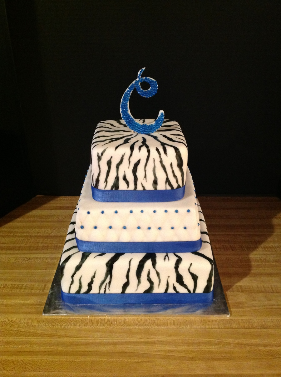 Blue Zebra  on Cake Central