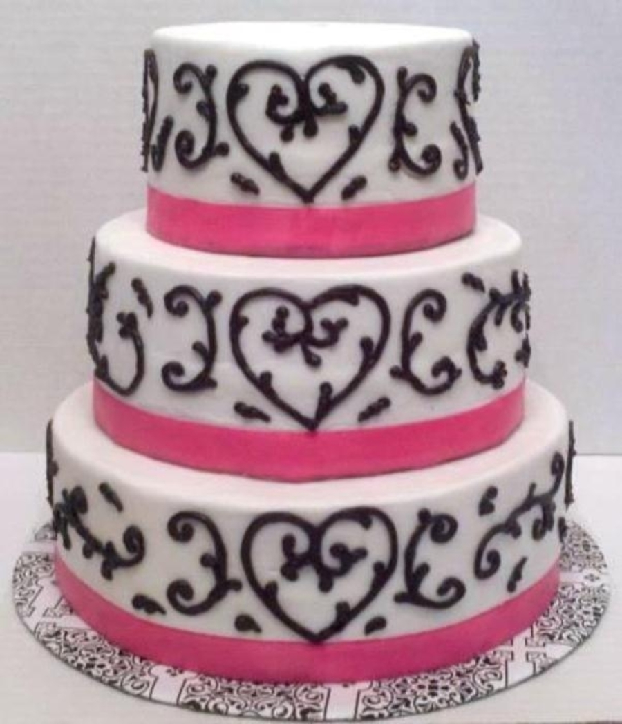 Hearts & Scrolls on Cake Central