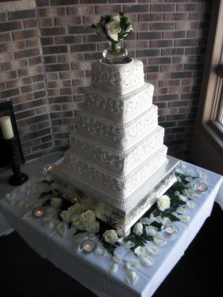 Five-Tier Square Wedding Cake  on Cake Central