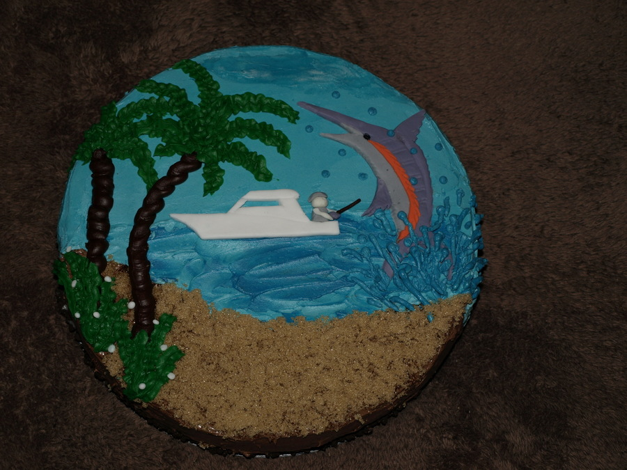 Fishing Cake Sand Is Brown Sugar The Water Is Buttercream The Boat And The Fish Are Made From Gum Paste on Cake Central