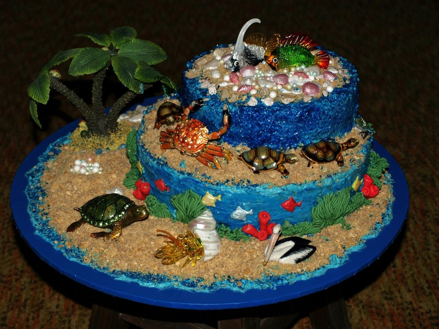 Sea Side Cake Covered With Buttercream The Sand Is Crushed Wafers  on Cake Central