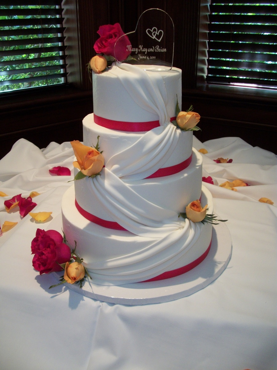 Stacked- Round- White Buttercream Wedding Cake on Cake Central