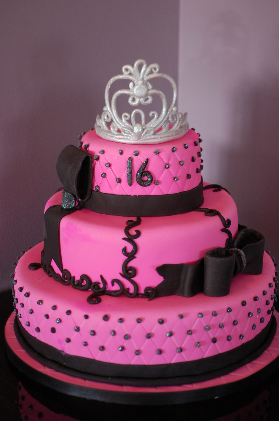Enjoyable Pink And Black Sweet 16 Birthday Cake The Crown Was Made Out Of Personalised Birthday Cards Sponlily Jamesorg