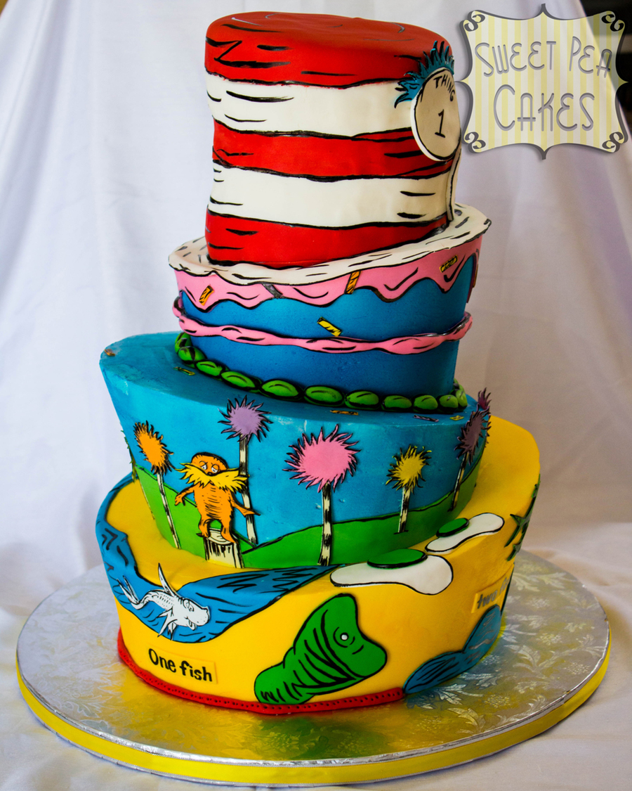 Dr Seuss Themed Birthday Cake