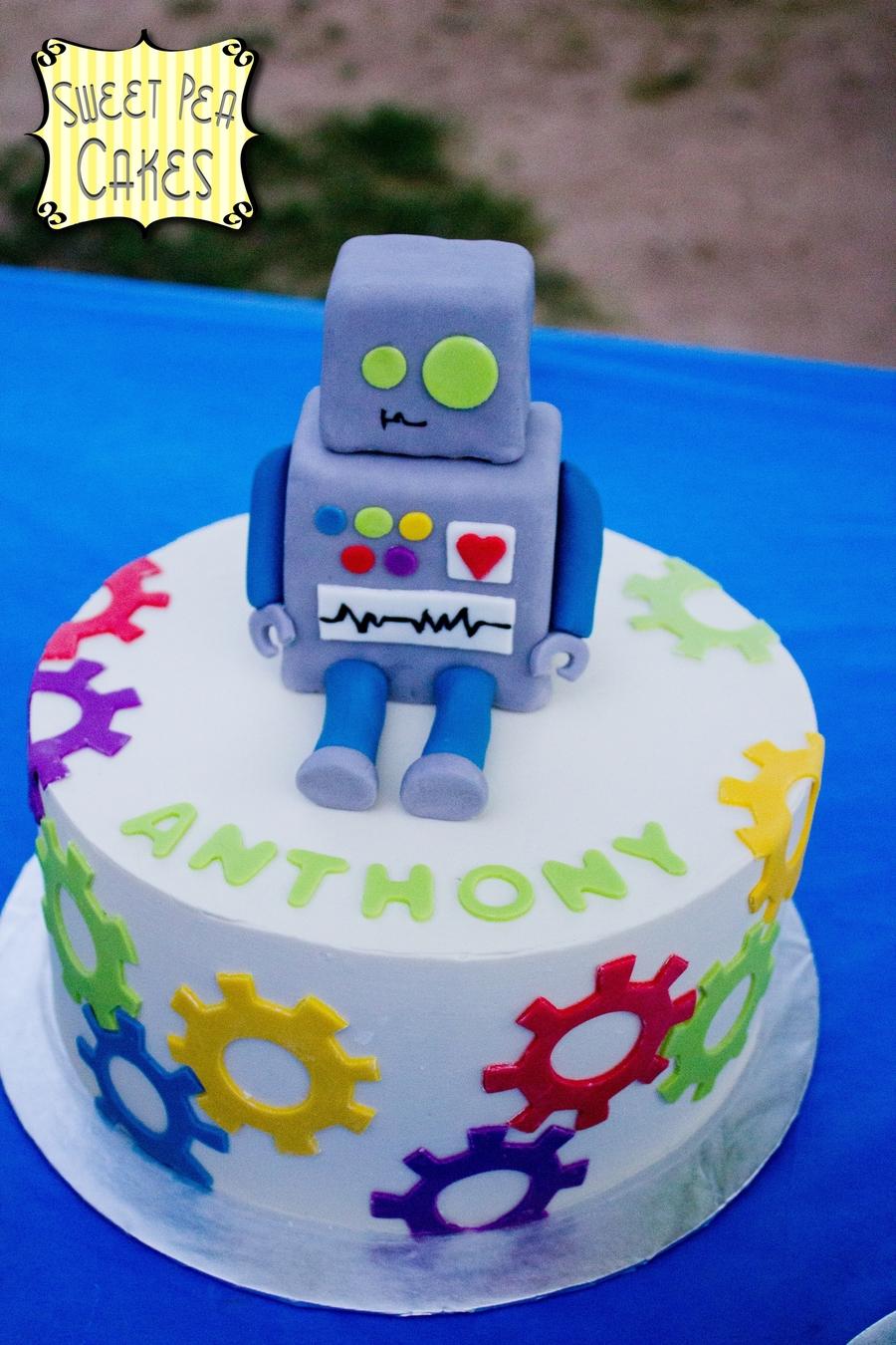 Robot Fondant Cake Birthday