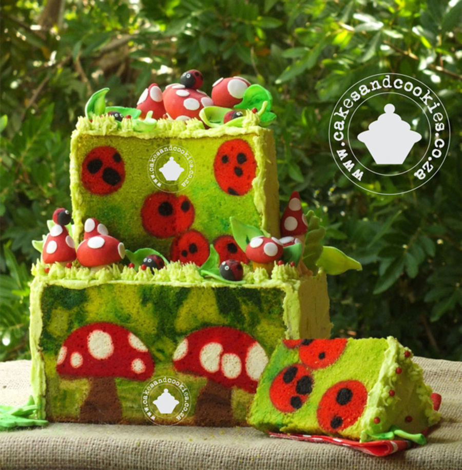 Forest Fantasy Toadstools And Ladybirds Inside Cake on Cake Central