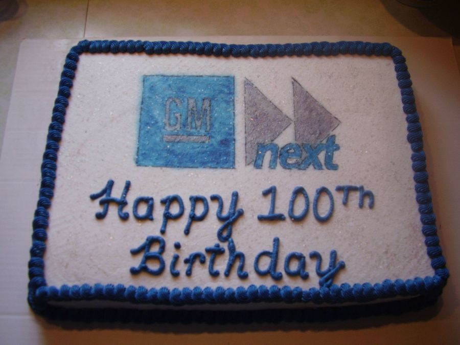 General Motors 100Th Birthday On Cake Central