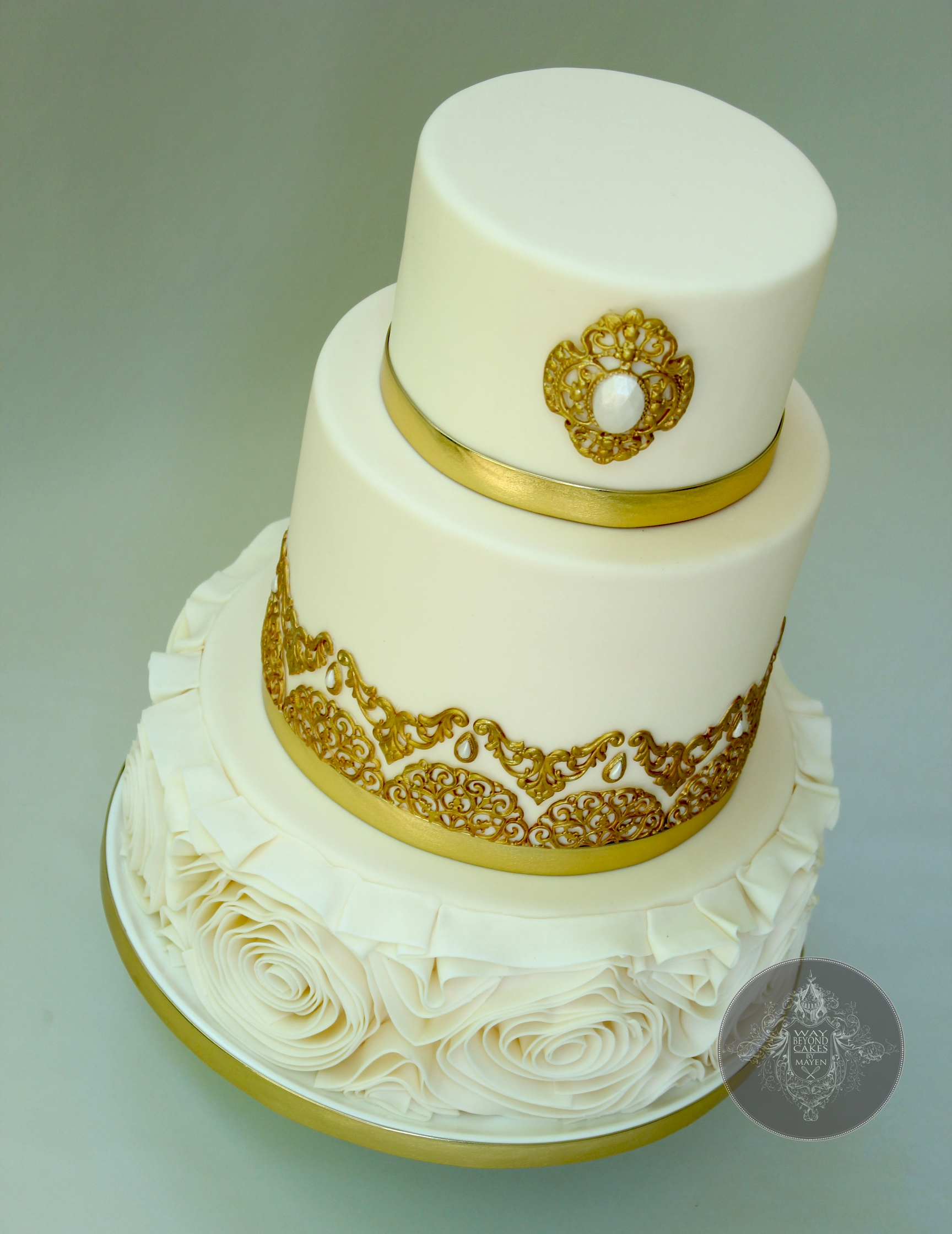 golden wedding cake recipe golden wedding cake with floral ruffles cakecentral 14764