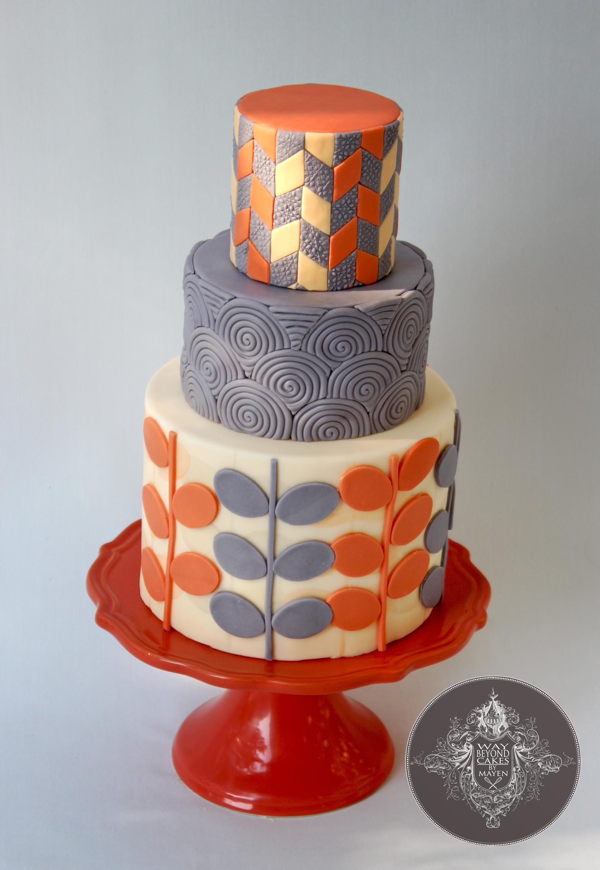 Modern Orange And Grey Birthday Cake CakeCentralcom