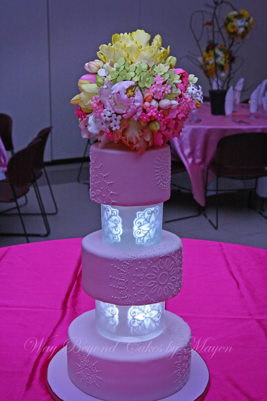 Pale Pink Cake With Self Illuminated Tiers Separators - CakeCentral.com