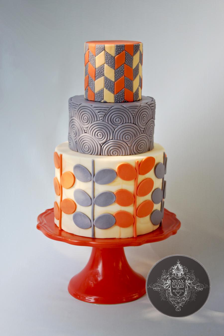 Modern Orange And Grey Birthday Cake Cakecentral