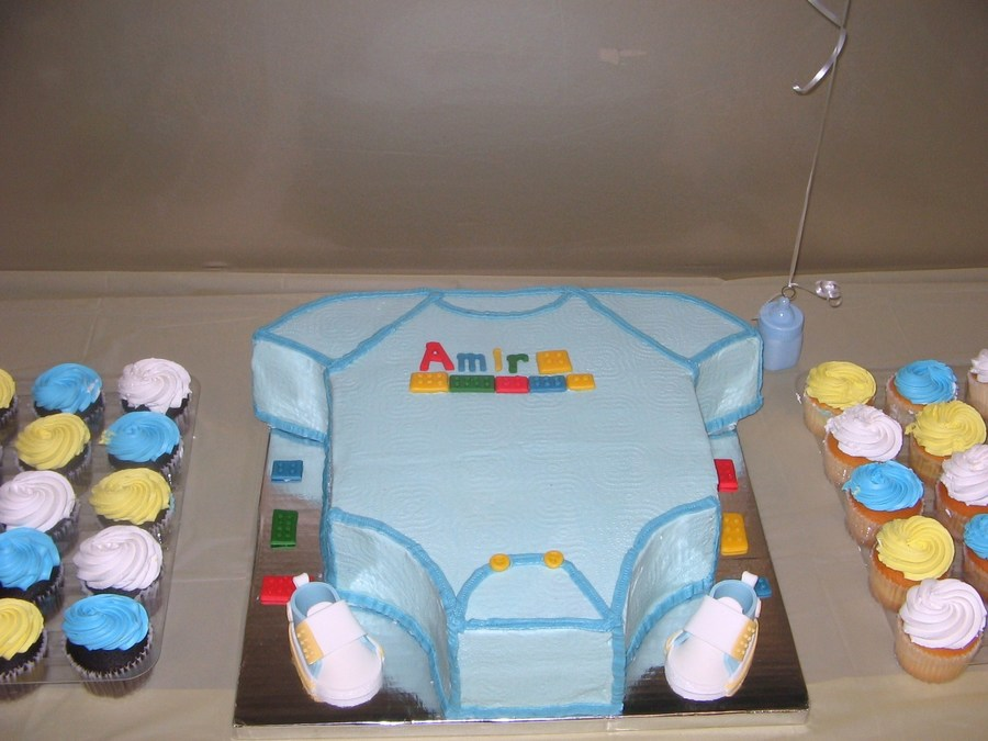 Excited Dad Wants Lego Block Baby Shower Cake Cakecentral