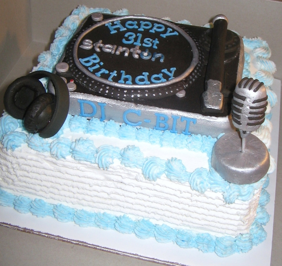This Is My First Time Making A DJ Cake The Request Was Lemon Bettercreme Low Sugar Yellow CakeThe Turntable Headphones And Microphone Made