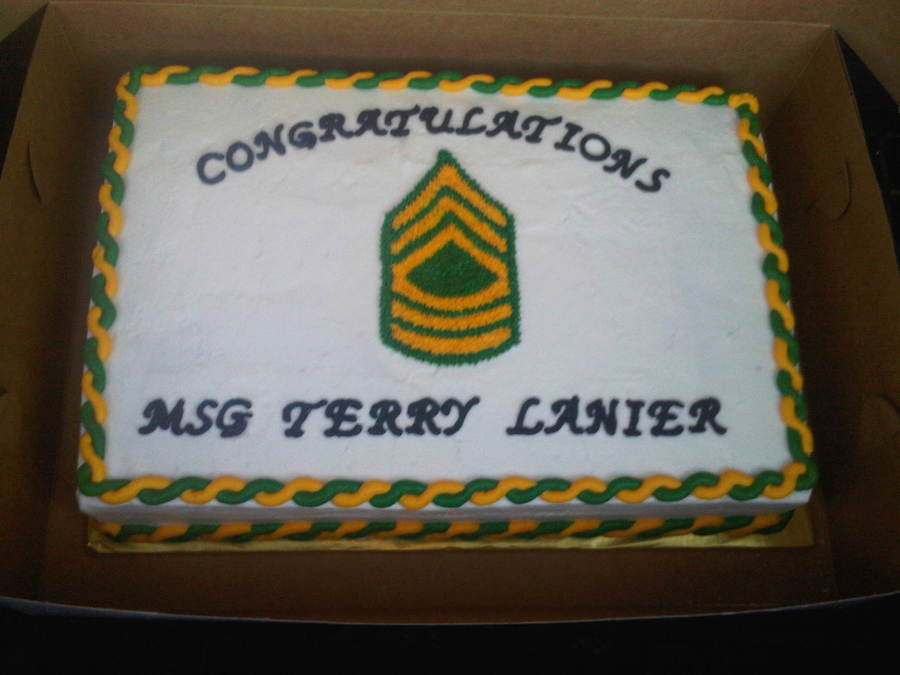 Cake Pic With Msg : Army Promotion To Msg - CakeCentral.com
