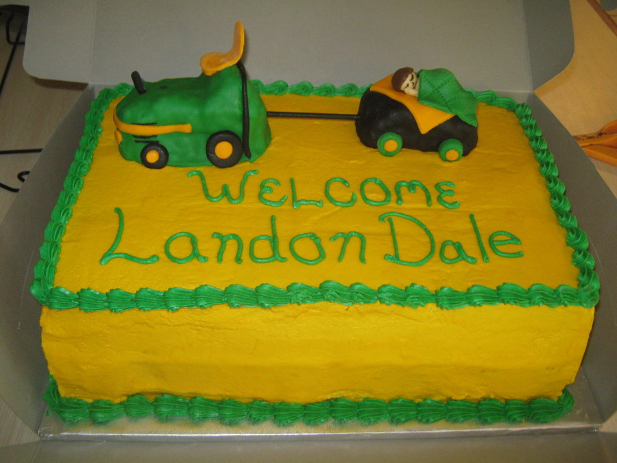 John Deere Baby Shower Cake Tractor And Trailer Were Rice Krispy