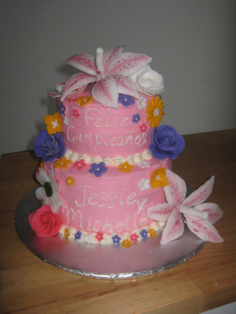 Birthday cake cousins sharing a birthdaywanted lots of flowers all birthday cake cousins sharing a birthdaywanted lots of flowers all flowers made from fondant cake covered in buttercream cakecentral izmirmasajfo