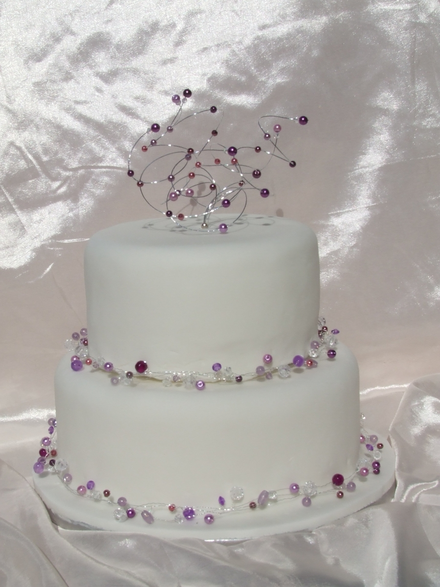 Purple Beads Wedding Cake on Cake Central