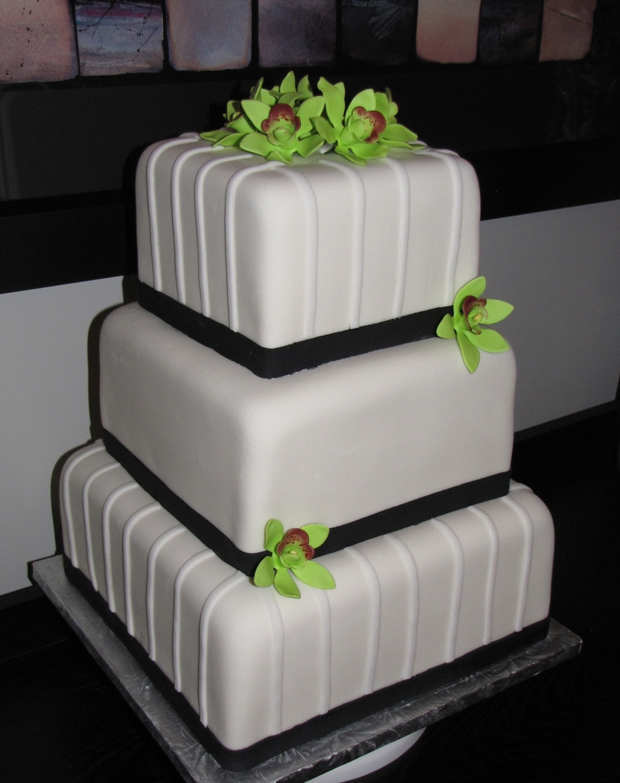 Green Orchid Wedding Cake on Cake Central
