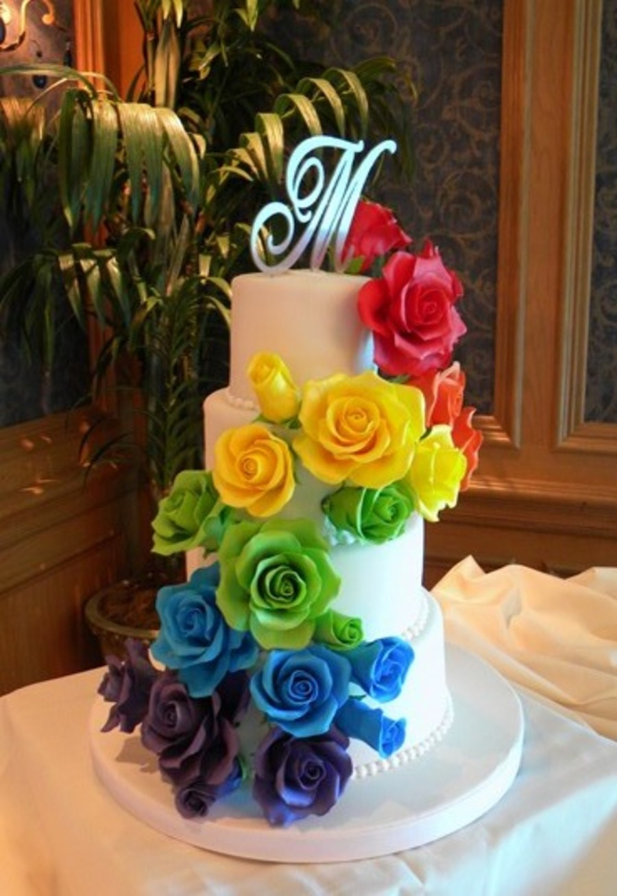 Rainbow Of Roses on Cake Central