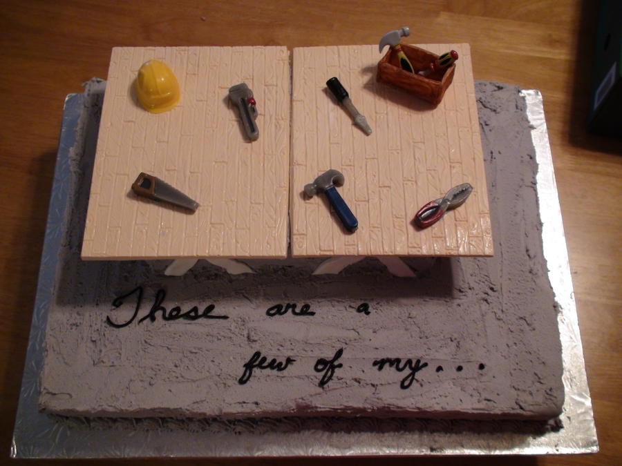 Tools On Sawhorse on Cake Central