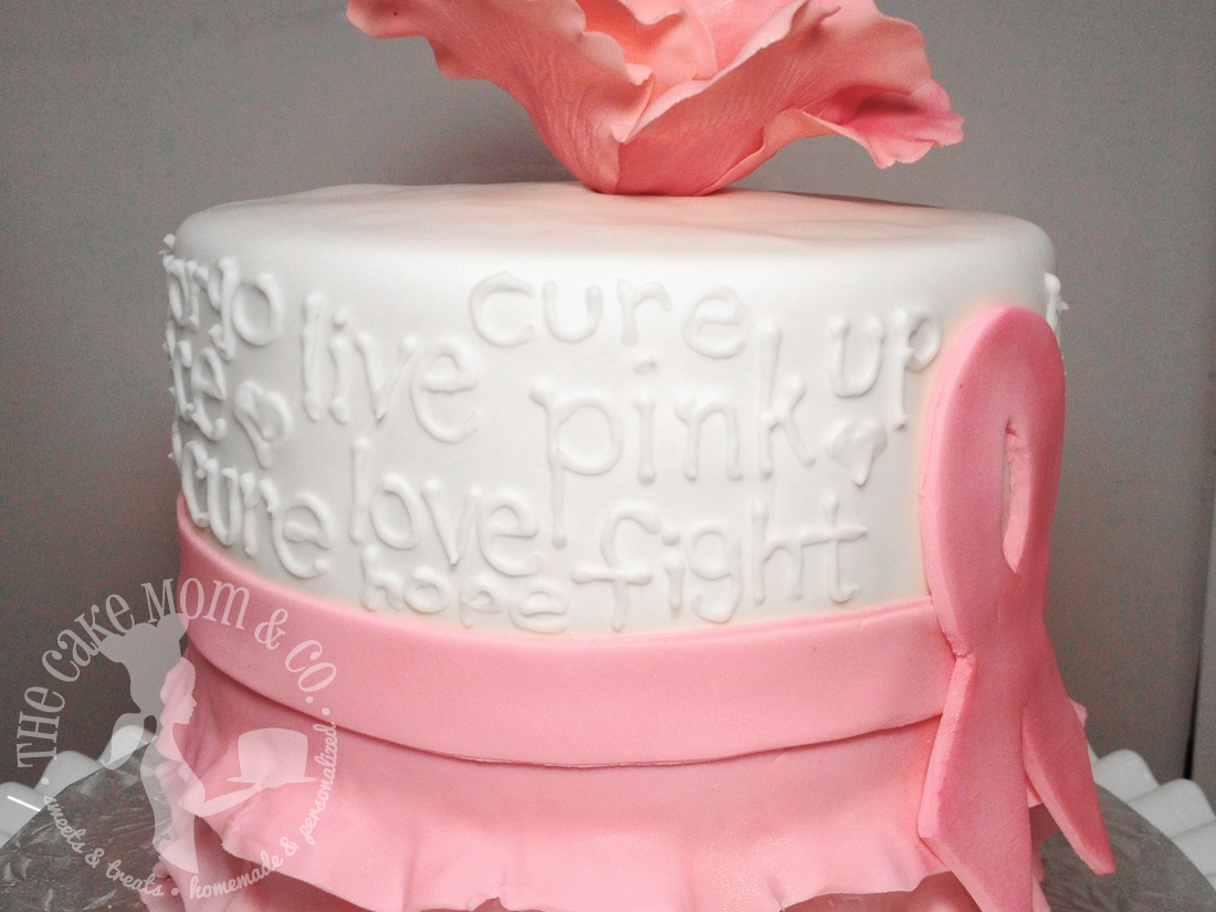 Cake Decorating Ribbon Ideas : Pink Ribbon Breast Cancer Survivor Cake - CakeCentral.com