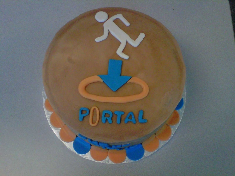Fantastic Birthday Cake From The Video Game Portal Cakecentral Com Personalised Birthday Cards Veneteletsinfo