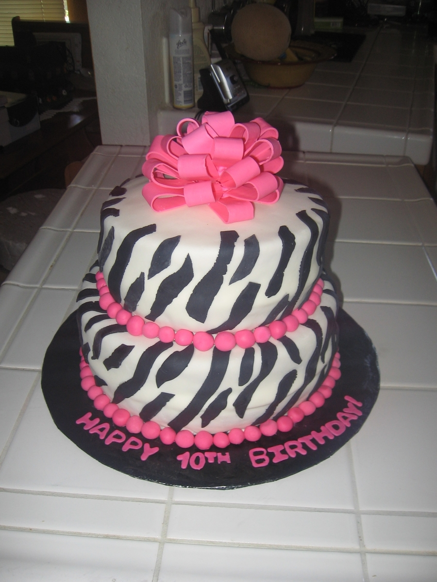 Zebra Cake With A Bow on Cake Central