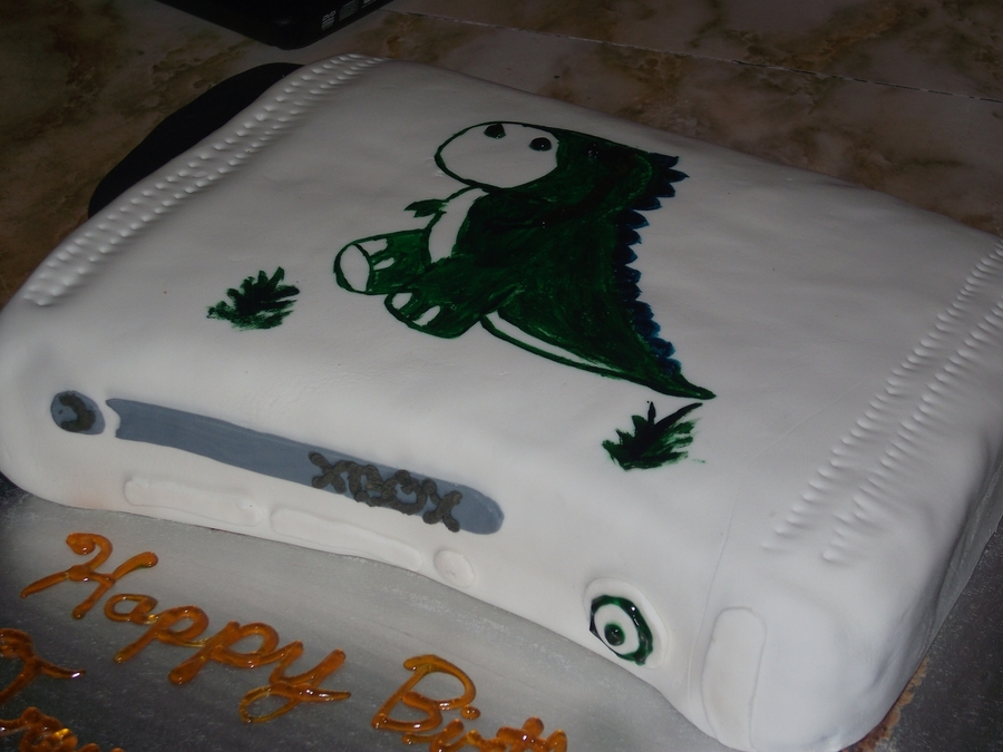 Xbox 360 On Its Side With A Painted Trex Wearing Monacle For My Friends 20th Bday