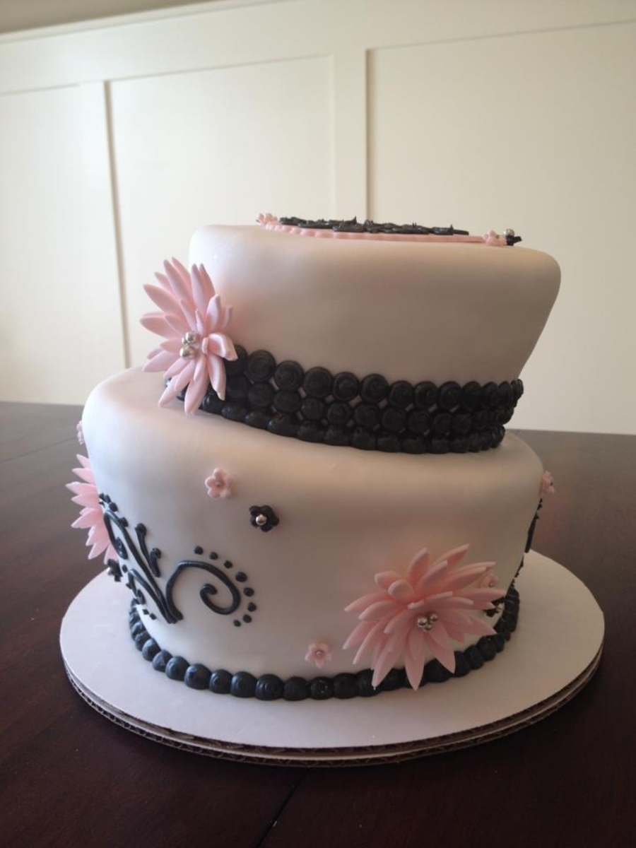 Pink And Black Anniversary  on Cake Central