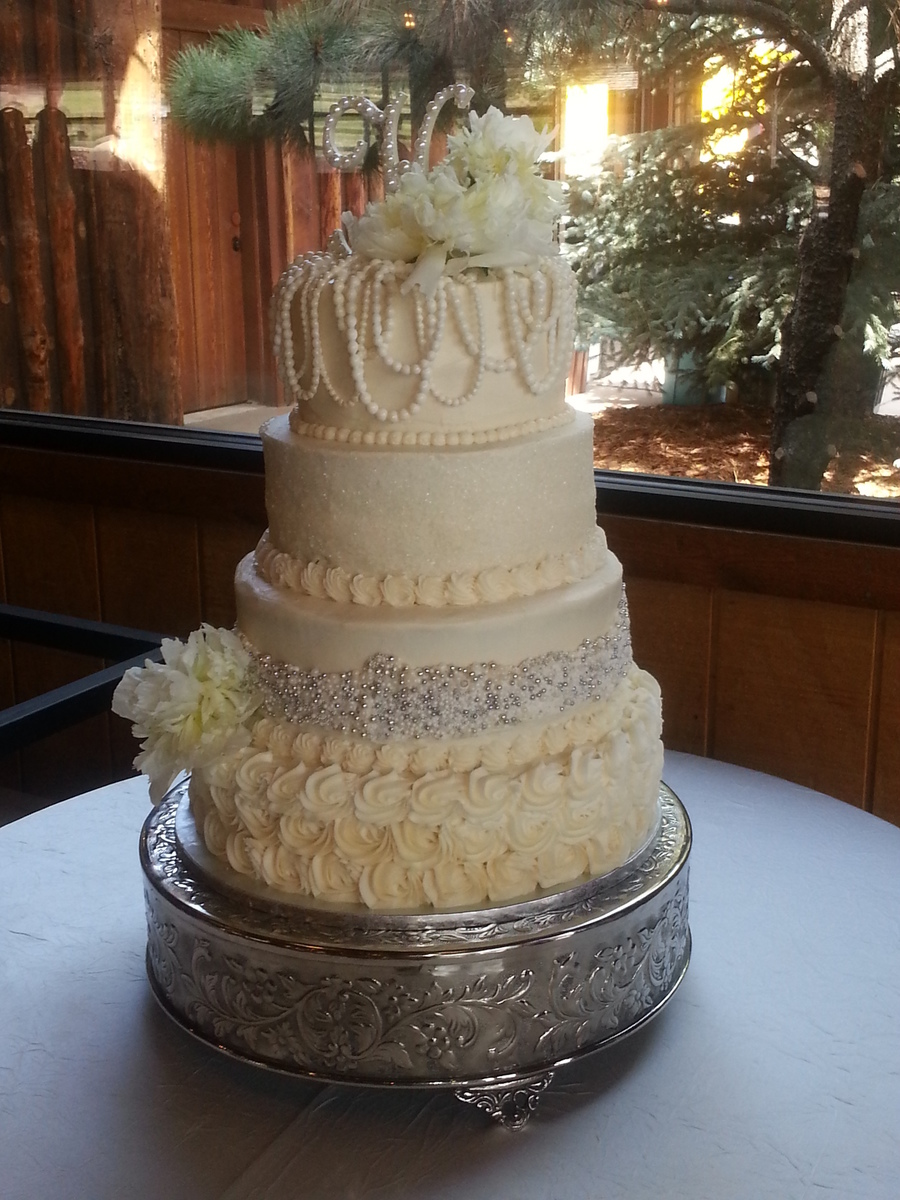 4 Tire Round Wedding Cake Decorated With Sugar Pearls