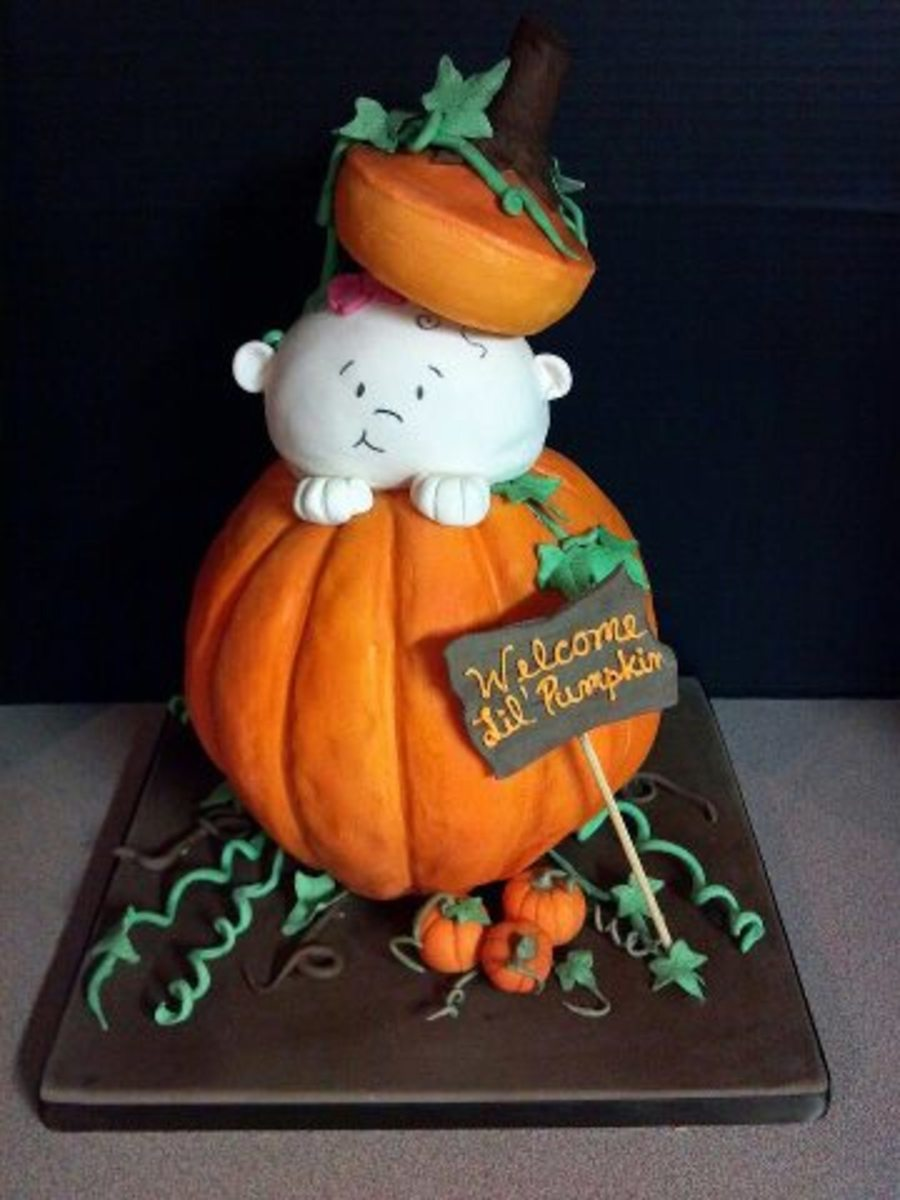 Fondant Covered Round Cake Air Brushed And Hand Painted Leaves And Vines Little Pumpkins And Sign Made Of Gum Paste Thanks For Looking on Cake Central