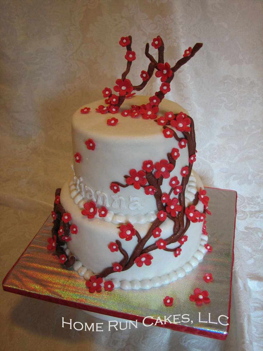 Red Flower Tree Cake On Central For A Girl Turning 12