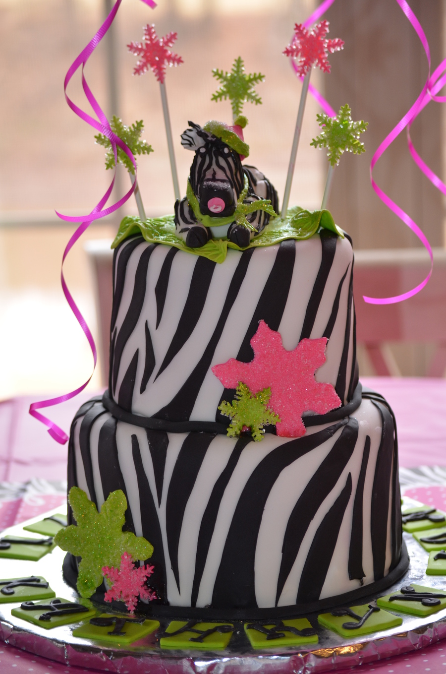 Wintery Zebra Baby Shower Cake For My Daughters 3Rd Baby Cake Was Also Zebra Striped Inside on Cake Central
