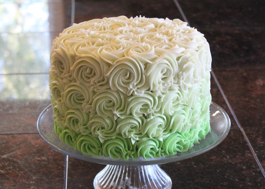 Green Ombre Rosettes on Cake Central