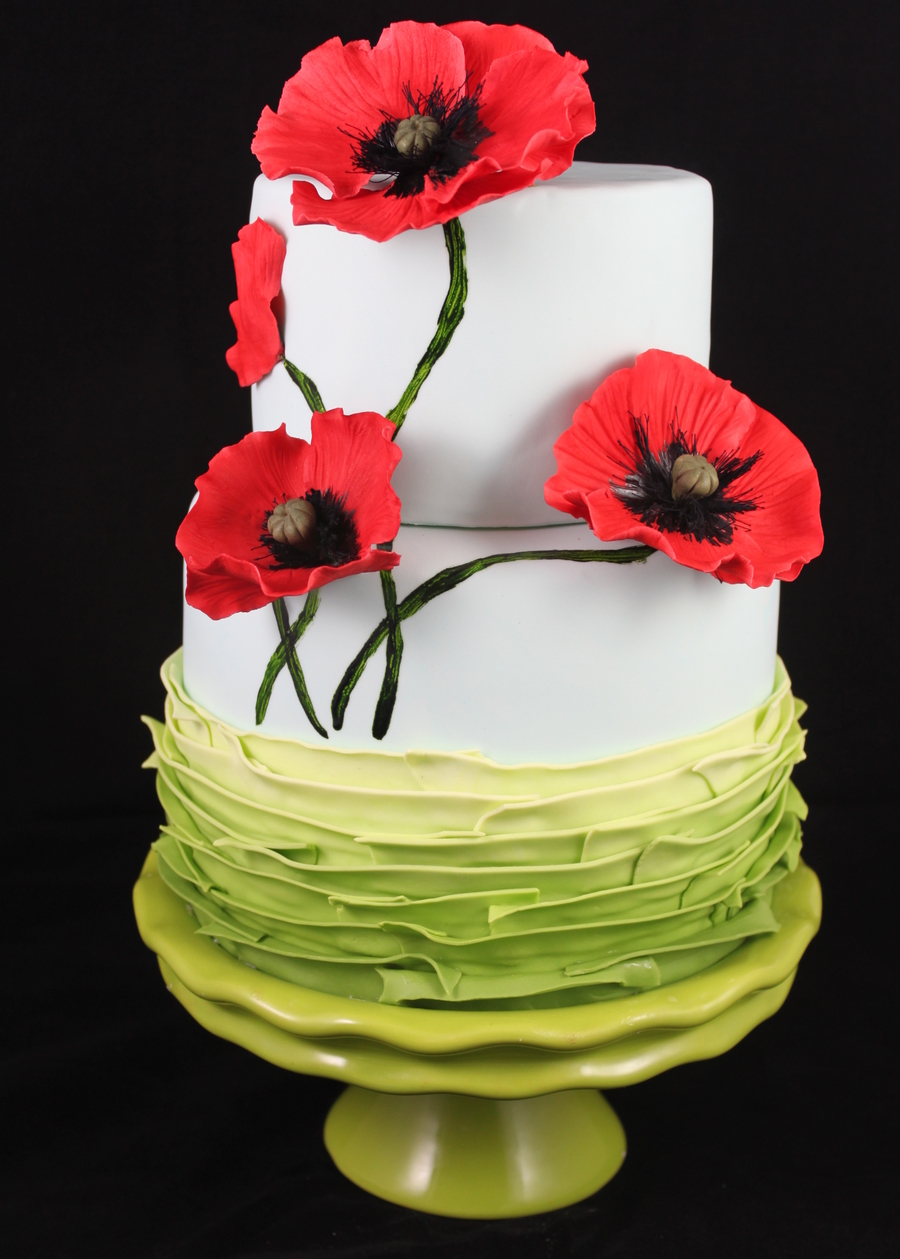 Fondant With Gumpaste Poppies Cakecentral