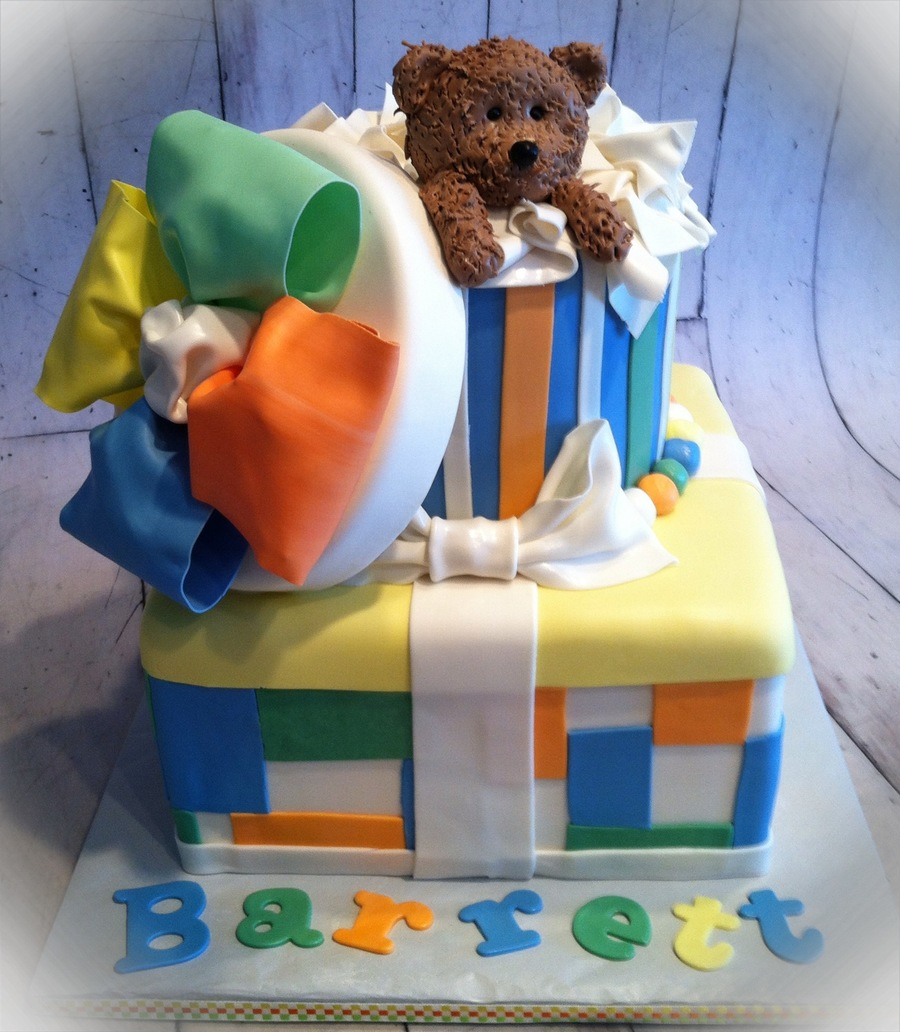 Bear In A Box Baby Shower Cake  on Cake Central