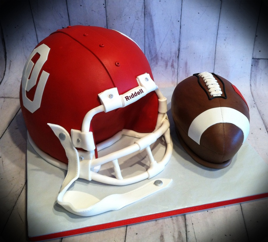 Ou Helmet And Football  on Cake Central