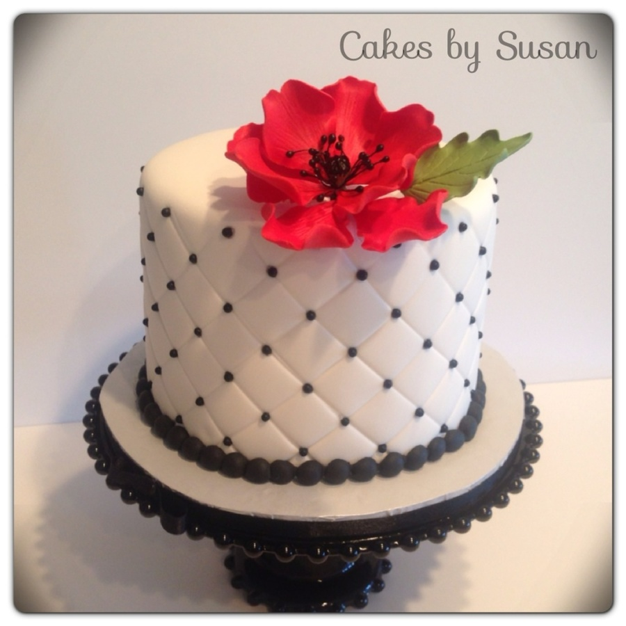 Quilted Sugar Poppy Wedding Cake This Was Going On Top Of A Cupcake Tier The Bride Made on Cake Central
