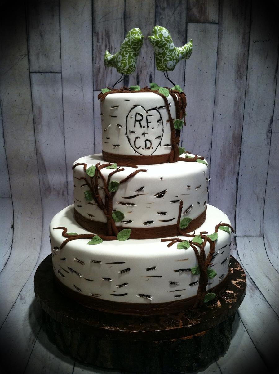 Bird In A Birch Tree Wedding Cake CakeCentralcom