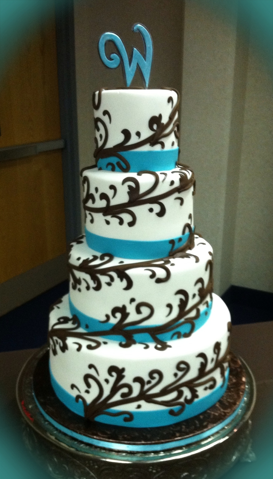 Brown And Teal Wedding Cake on Cake Central