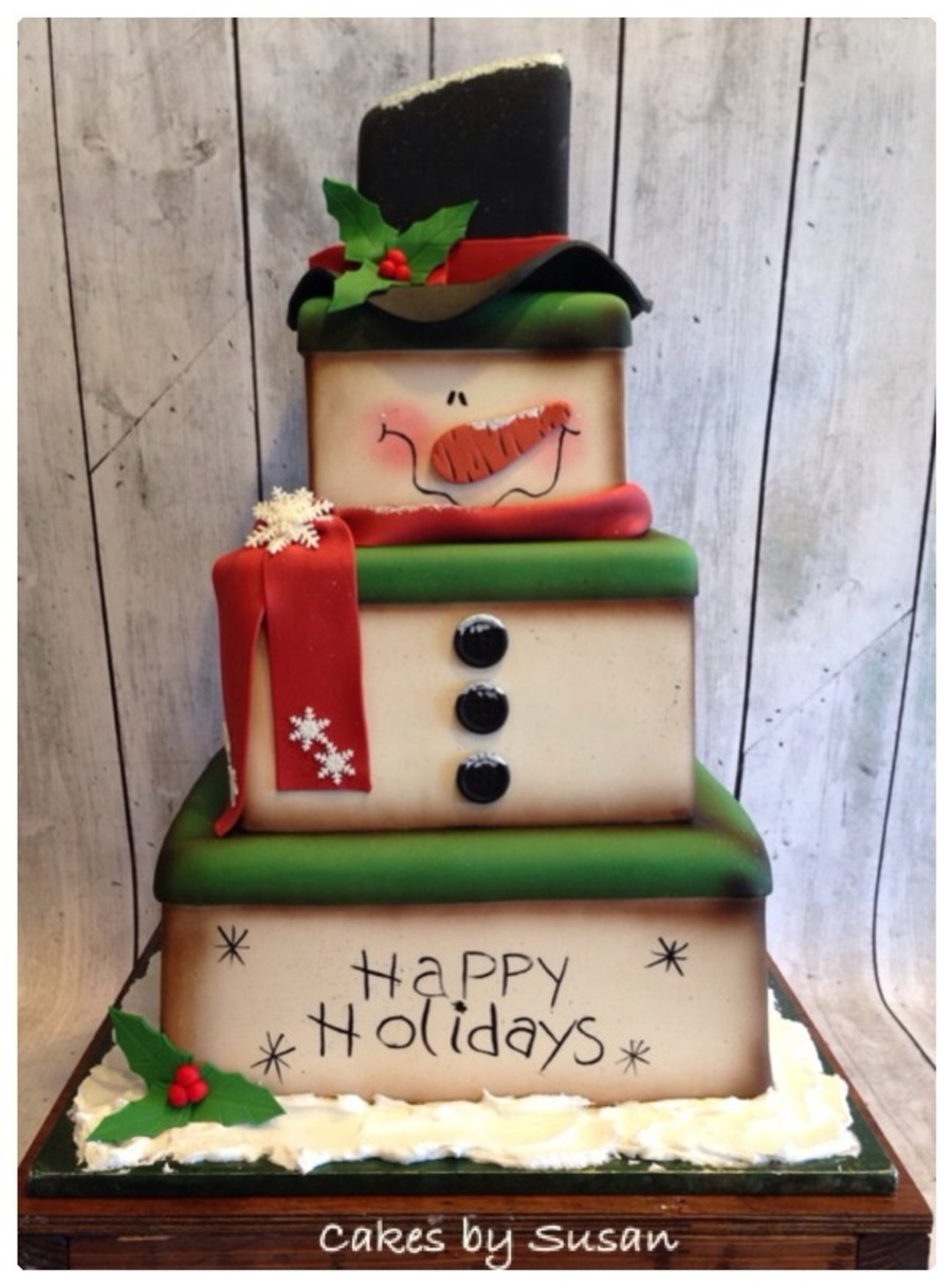 Snowman Box Christmas Cake on Cake Central