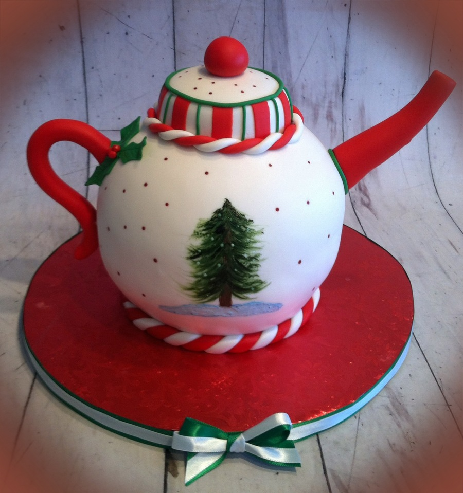 Handpainted Christmas Teapot on Cake Central