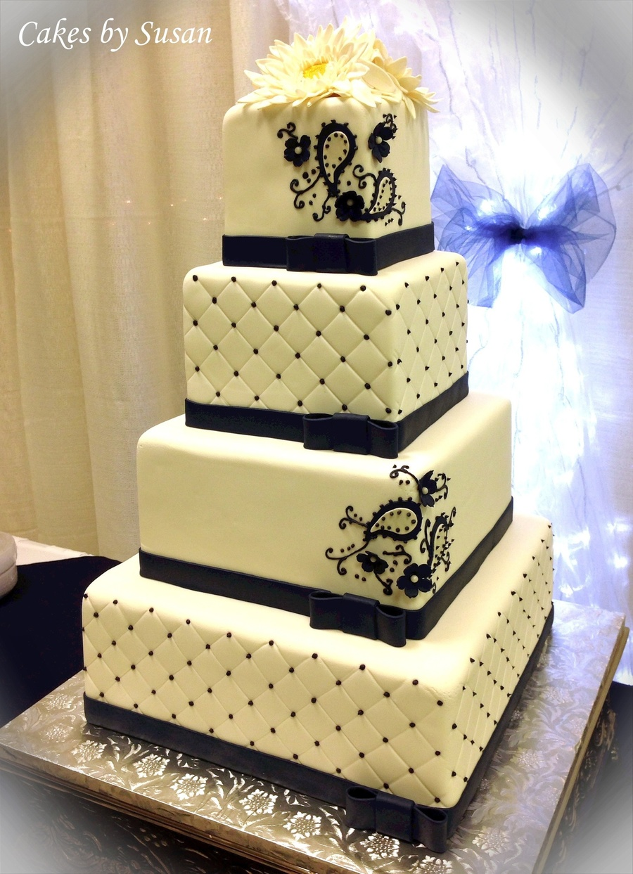 Navy Blue Quilted Paisley With Sugar Daisies Wedding Cake