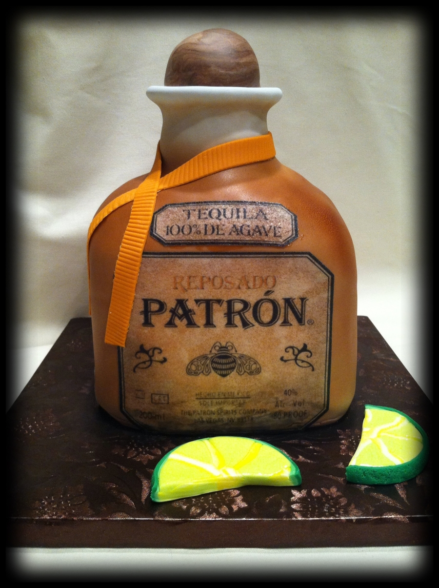 Bottle Of Patron With Limes Cake on Cake Central
