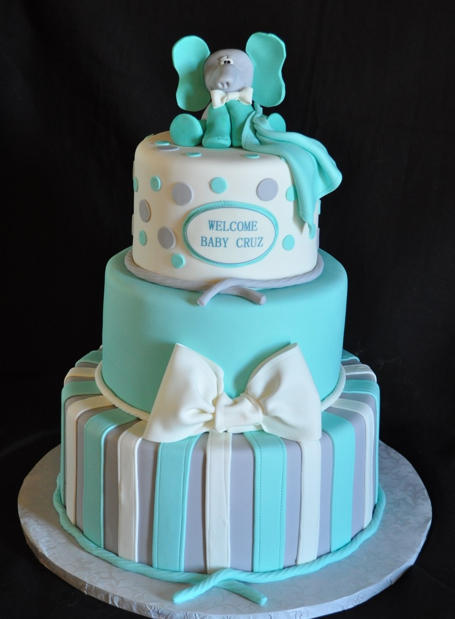 Teal And Gray Baby Shower Cake  on Cake Central